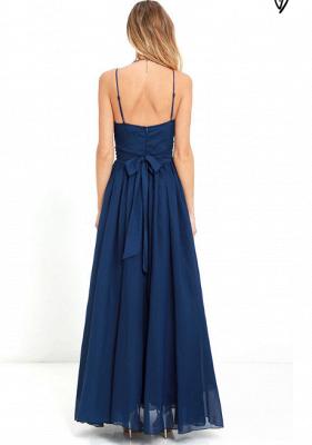 Sexy V-Neck Navy Blue Prom Dress UK Long Chiffon Bow Back_3