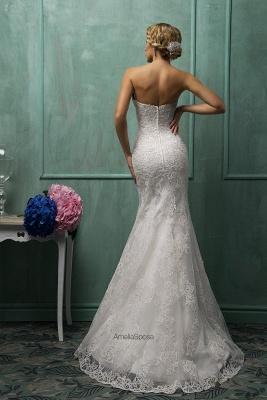 Elegant Strapless Sleeveless Lace Sexy Mermaid Wedding Dress Detachable Half-sleeve_2