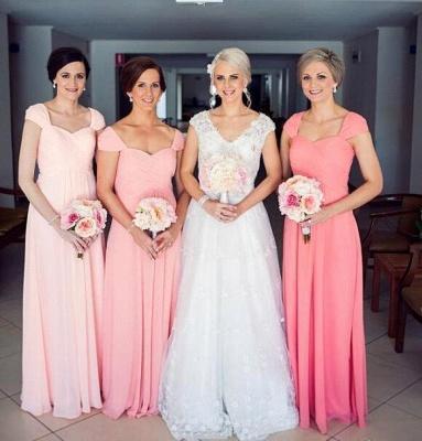 Sexy Cap Sleeve Long Bridesmaid Dress UKes UK Chiffon Floor Length_3