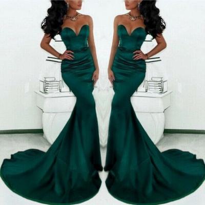 Luxury Sweetheart Mermaid Prom Dress UK Dark Green With Train_1