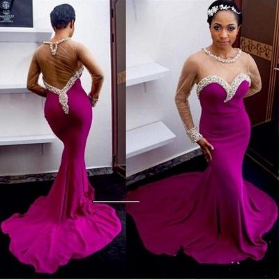 Elegant Mermaid Crystals Prom Dress UK Tulle Long Sleeve_3