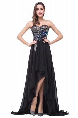 Newest Black Chiffon Peacock Prom Dress UK Hi-Lo Sweep Train_3