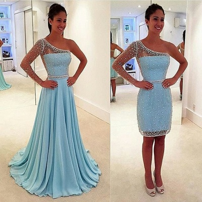 Stunning One Shoulder Long Sleeve Prom Dress UK Chiffon Beads Detachable Two Piece BA6802_3