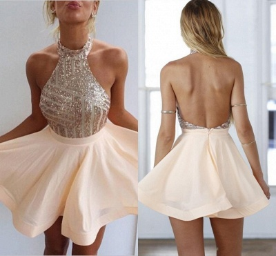 Stunning Sequins Halter Homecoming Dress UK A-Line Party Gowns BA3349_5