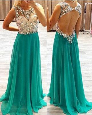 Elegant Crystals Mermaid Prom Dress UK Sweep Train_1