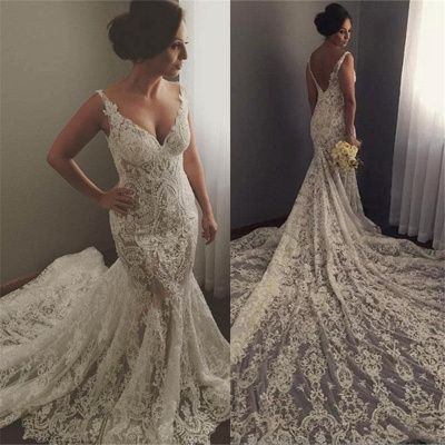 V-neck Sleeveless  Sexy Mermaid Wedding Dresses UK Lace Appliques Bridal Gown WE0196_4