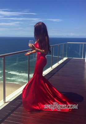 Red V-neck Sweep-Train Mermaid Sleeveless Newest Prom Dress UK_2