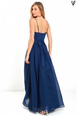 Sexy V-Neck Navy Blue Prom Dress UK Long Chiffon Bow Back_6