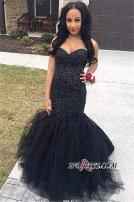 Dress UK Beading Elegant Tulle Sleeveless Prom Black Mermaid Evening Gown_1