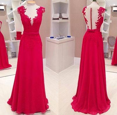 Elegant Red Deep V-Neck Prom Dress UKes UK Sleeveless Chiffon Evening Dress UKes UK with Bowknot_2