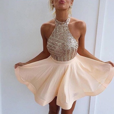 Stunning Sequins Halter Homecoming Dress UK A-Line Party Gowns BA3349_1