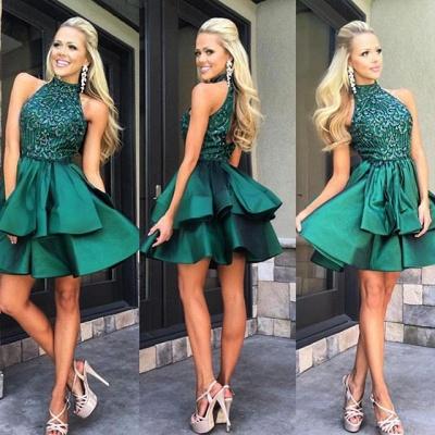 Luxury Green Sleeveless Short Prom Dress UK Beadings Mini Homecoming Gown HT102_3