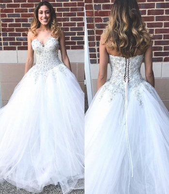 Elegant Sweetheart Beadss Princess Wedding Dress Tulle Lace-up Bridal Gown On Sale_3