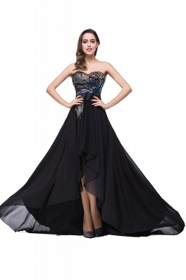 Newest Black Chiffon Peacock Prom Dress UK Hi-Lo Sweep Train_1