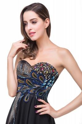 Newest Black Chiffon Peacock Prom Dress UK Hi-Lo Sweep Train_5