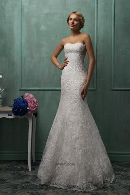 Elegant Strapless Sleeveless Lace Sexy Mermaid Wedding Dress Detachable Half-sleeve_1