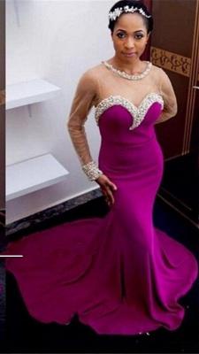 Elegant Mermaid Crystals Prom Dress UK Tulle Long Sleeve_1