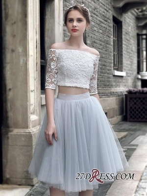 Off-the-Shoulder Elegant Knee-Length Tulle Lace Homecoming Dress UK_3