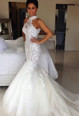 Delicate Halter Tulle Sexy Mermaid Wedding Dress With Lace Appliques_1