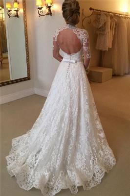 Elegant Lace A-line Wedding Dress Long Sleeve High Neck_3