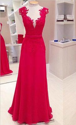 Elegant Red Deep V-Neck Prom Dress UKes UK Sleeveless Chiffon Evening Dress UKes UK with Bowknot_1