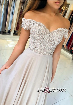 Sexy Chiffon Long Prom Dress UK   Off-the-Shoulder Lace-Appliques Evening Dress UK_4