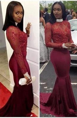 Burgundy Long-Sleeve Mermaid Prom Dress UK | Lace Formal Dress UK_1