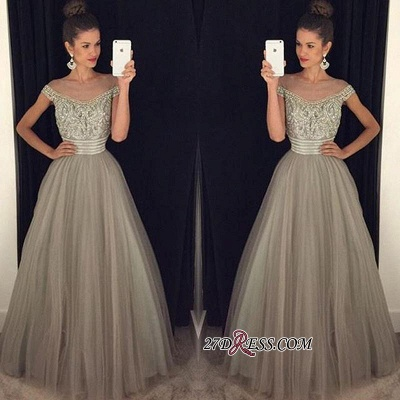 Beadings Tulle Long A-Line Gorgeous Crystal Prom Dress UK_1