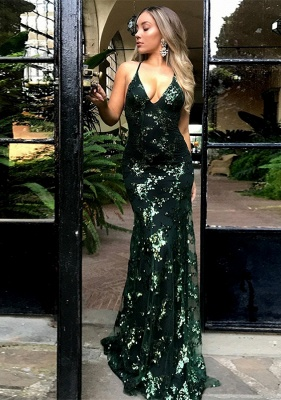 Green Sequins Prom Dress UK | Mermaid Evening Gowns Backless_1