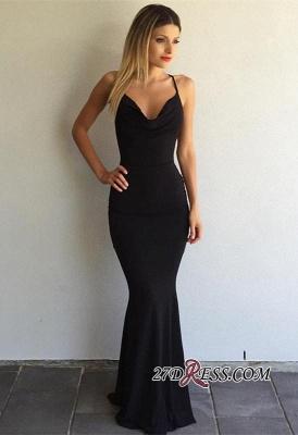 Black Sleeveless Elegant Spaghetti-Strap Cross-Back Mermaid Prom Dress UK sp0248_5