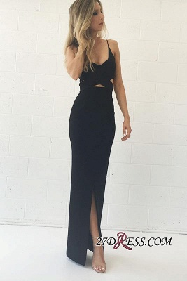 Elegant Split Mermaid V-Neck Spaghetti-Straps Black Prom Dress UK_2