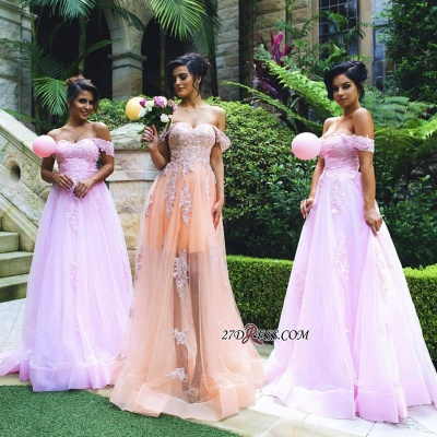 Lace Off-the-shoulder Luxury Appliques Tulle Prom Dress UK_1