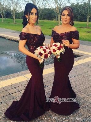Long Mermaid Off-The-Shoulder Sequins Sleeves Short Prom Dress UK_4