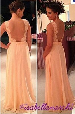 fashion long Vestido De Dama wedding party Dress UKes UK peach nude back chiffon lace prom gowns_2