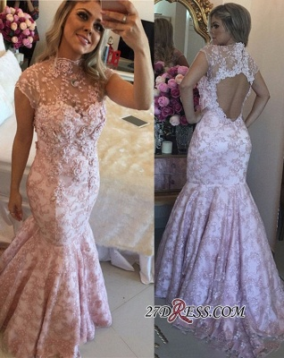 Pink lace evening Dress UK, mermaid prom Dress UK_3