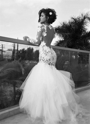 Delicate Long Sleeve Tulle Sexy Mermaid Wedding Dress With Appliques_1