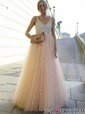 Sexy Straps Sleeveless Evening Dress UK Long Tulle Party Dress UK With Appliques_4