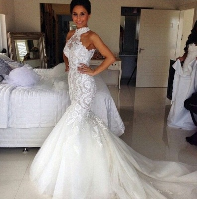 Delicate Halter Tulle Sexy Mermaid Wedding Dress With Lace Appliques_2