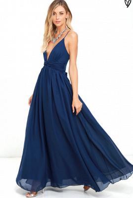 Sexy V-Neck Navy Blue Prom Dress UK Long Chiffon Bow Back_4