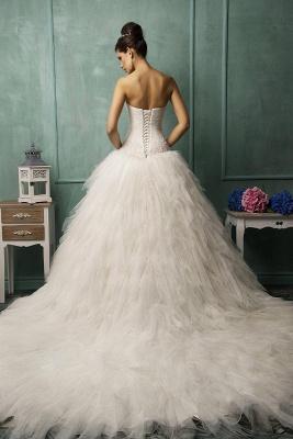 Modern Strapless Sleeveless Tulle Wedding Dress With Ruffles_2