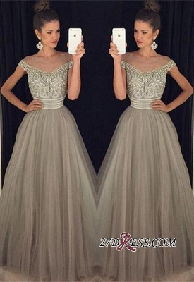 Beadings Tulle Long A-Line Gorgeous Crystal Prom Dress UK_2