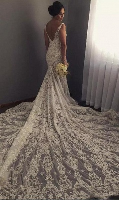 V-neck Sleeveless  Sexy Mermaid Wedding Dresses UK Lace Appliques Bridal Gown WE0196_3