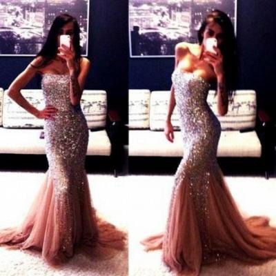 Champagne New Luxury Mermaid Strapless Prom Dress UKes UK Sleeveless Beadings Evening Gowns With Ruffles_1