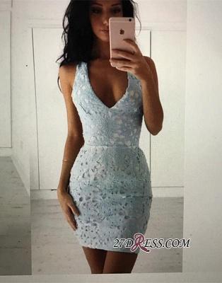 Straps Bodycon Modest Sleeveless Lace Short Homecoming Dress UK_4