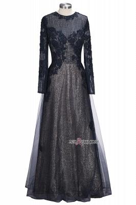 Lace-Appliques Black Long-sleeve Modern Scoop Evening Dress UK_6