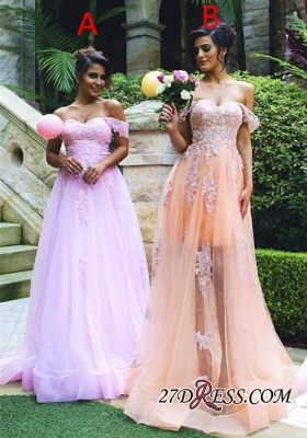 Lace Off-the-shoulder Luxury Appliques Tulle Prom Dress UK_2