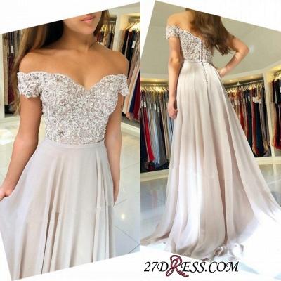 Sexy Chiffon Long Prom Dress UK   Off-the-Shoulder Lace-Appliques Evening Dress UK_3