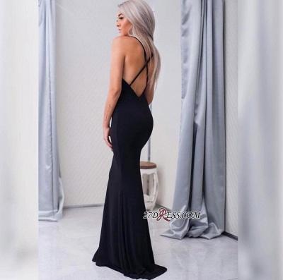 Black Sleeveless Elegant Spaghetti-Strap Cross-Back Mermaid Prom Dress UK sp0248_4