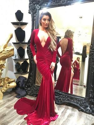 Elegant Long Sleeve V-neck Prom Dress UK Open Back Party Dress UK With SPlit_1