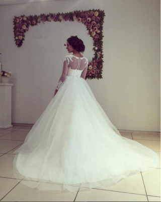 Stunning Long Sleeve Lace Wedding Dress Princess Tulle Zipper Back_3